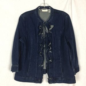 CHICO's Denim Jacket Size 1. Dark Wash Blue
